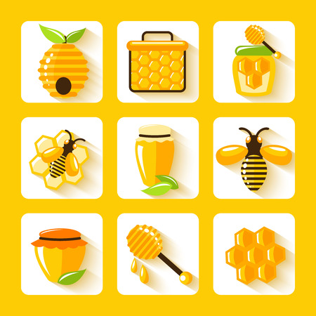 bee hive: Honey drop comb bee hive and cell food agriculture flat icons set isolated vector illustration