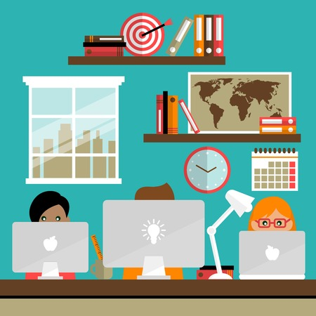Business life people team work on laptop computers in office vector illustration Vector