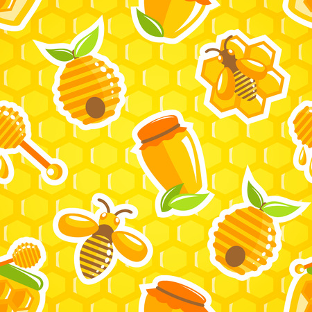 Decorative honey food jar hive bumble bee and dipper with honeycomb background seamless pattern vector illustration Vector