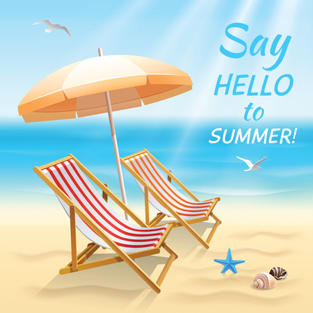 Summer holidays beach background say hello to summer wallpaper with sun chair and shade vector illustration. Vector