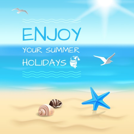 Summer holidays seaside beach background enjoy your summer holidays layout vector illustration Illustration
