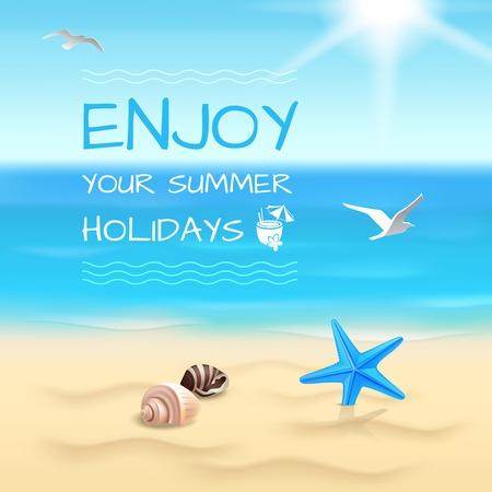 Zomervakantie aan zee strand achtergrond genieten van uw zomervakantie lay-out vector illustratie