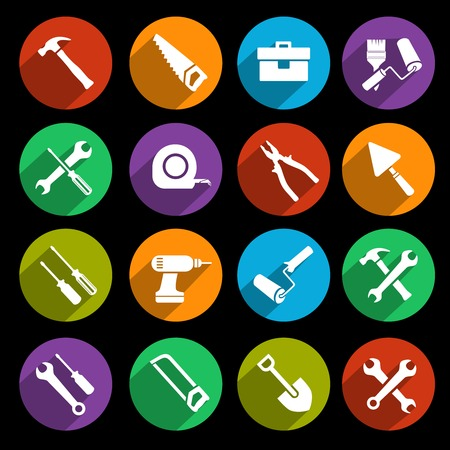 Construction or house renovation working tools icons set of wrench hammer screwdriver and saw isolated vector illustration