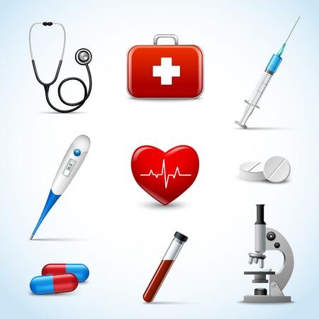 Realistas de iconos de atención de primeros auxilios de emergencia médica 3d fijó con el corazón aislado píldora termómetro ilustración vectorial Vectores
