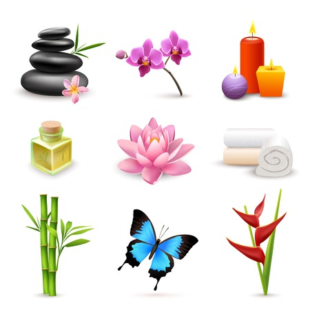 Realistic 3d spa beauty health care icons set with bamboo lotus candles isolated vector illustration