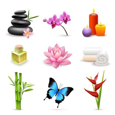 Realistische 3d spa beauty gezondheidszorg pictogrammen set met geïsoleerde bamboe lotus kaarsen vector illustratie