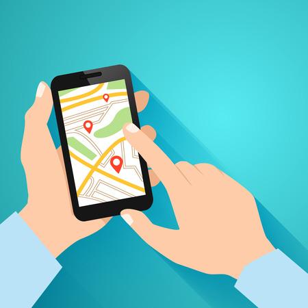 Mains tenant smartphone avec une application lancée navigation illustration vectorielle Banque d'images - 27595386
