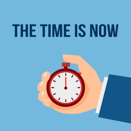 el tiempo: Hombre de negocios con cronómetro el tiempo es ahora ilustración gestión cartel vector