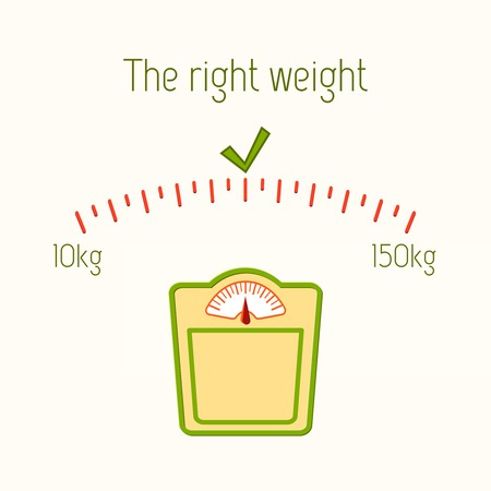 kilograms: The right weight poster with floor bathroom fitness scales vector illustration Illustration