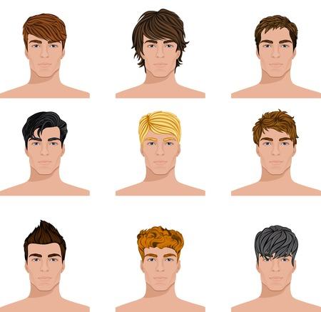belleza masculina: Conjunto de cierre hasta diferentes j�venes estilo de pelo retratos aislados ilustraciones vectoriales Vectores