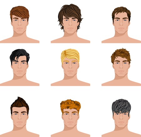 brown hair blue eyes: Set of close up different hair style young men portraits isolated vector illustrations