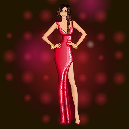 legged: Glamorous dressed up for a dancing party young long legged attractive woman vector illustration