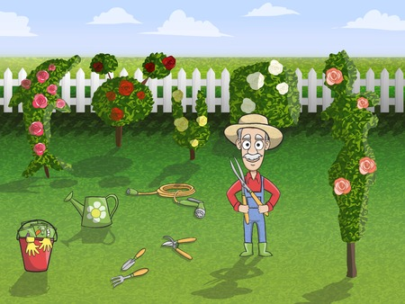 Happy gardener cartoon character in hat with tree pruner working in rose garden concept poster vector illustration Illustration