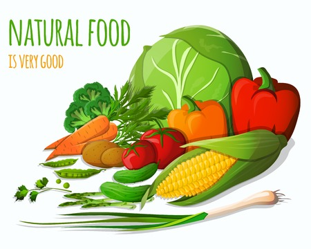 チャイブ: 野菜食糧人参ピーマン トマト ジャガイモ チャイブ ブロッコリー ベクトル図の庭の静物