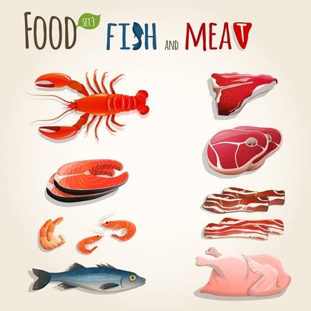 치킨 새우 베이컨 벡터 일러스트 레이 션의 음식 생선과 고기 장식 요소 컬렉션 일러스트