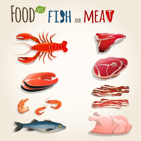 Food fish and meat decorative elements collection of chicken shrimp bacon vector illustration Ilustração