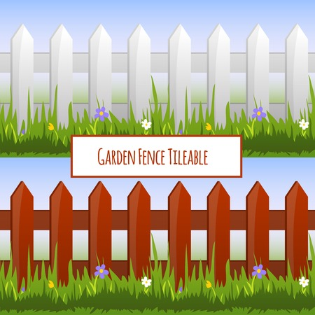 Garden fence with grass and daisy flowers tileable pattern vector illustration Illustration