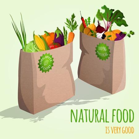 チャイブ: 自然食品が紙バッグ概念ベクトル図の非常に良い有機野菜です。