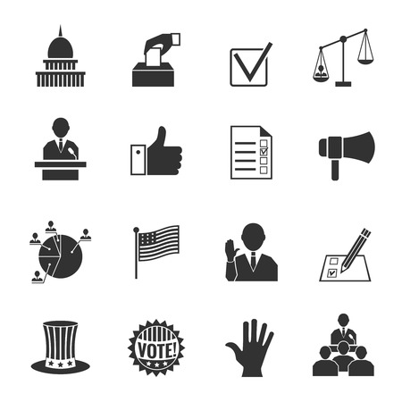 vote: Elections and voting icons set with ballot box check signs and flags isolated vector illustration Illustration