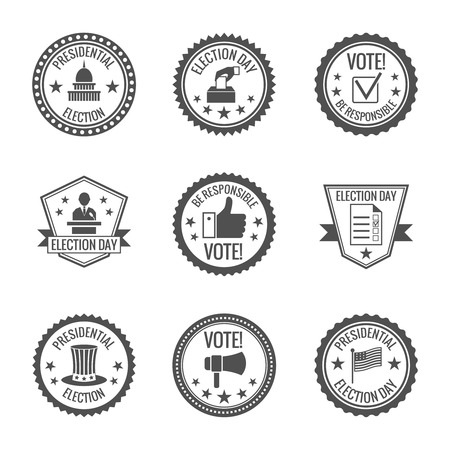 capitol: Government and presidential politician elections and voting labels set with candidates ballots megaphone isolated vector illustration