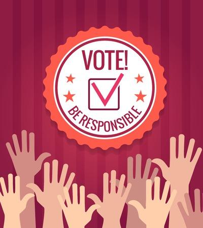 選挙と投票ポスター手と投票チェック バッジ ベクトル イラスト
