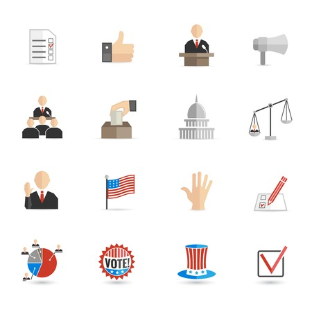 Elections and voting icons set with ballot mark sign hand flag isolated vector illustration Vector