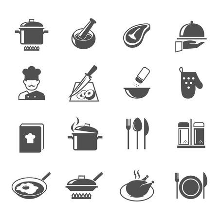 Cocinar iconos cocina y de restaurante establecidas con el chef utensilios y alimentos aislados ilustración vectorial Foto de archivo - 27595350