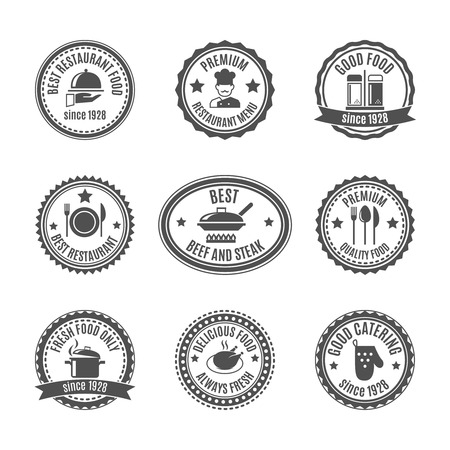 Restaurant food and cooking labels set with cooking symbols isolated vector illustration Vector