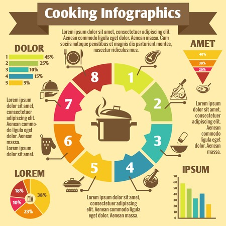 food preparation: Cooking kitchen and restaurant infographic elements food and utensil icons and charts vector illustration Illustration