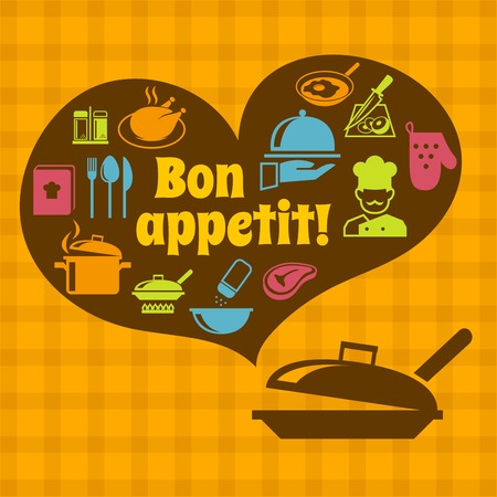bon: Cooking food kitchen bon appetit poster with pan and restaurant icons vector illustration