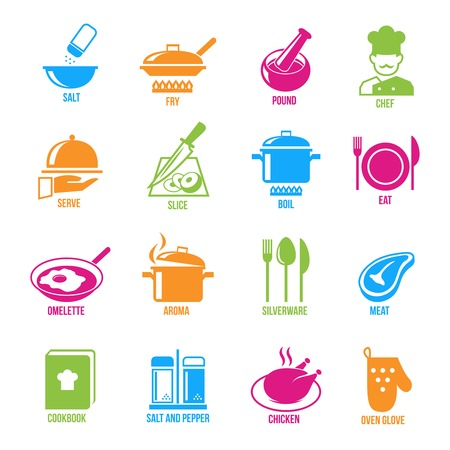 Cooking kitchen and restaurant icons set with salt fry chef serve slice boil  isolated vector illustration
