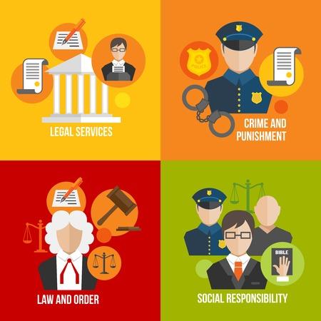 Juridische dienstverlening misdaad en straf en orde maatschappelijke verantwoordelijkheid pictogrammen instellen geïsoleerde vector illustratie Stock Illustratie