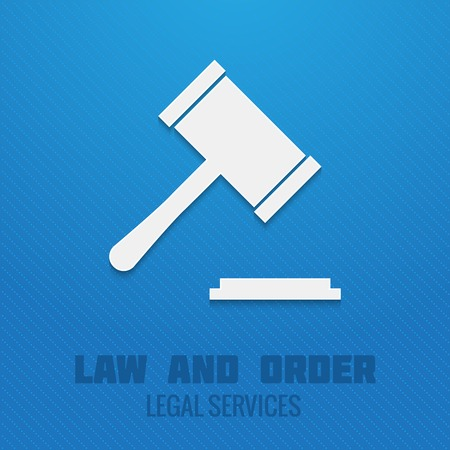 legal services: Judge gavel legal services law and order poster template vector illustration Illustration