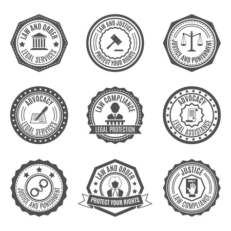 legal services: Legal services rights protect advocacy service labels set isolated vector illustration Illustration