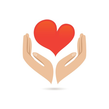 hands holding heart: Hands holding red heart love care family protect poster vector illustration Illustration