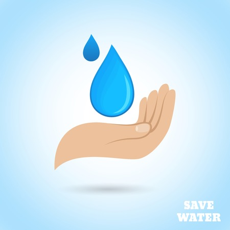 save water: Hands holding drop save water protect poster vector illustration Illustration