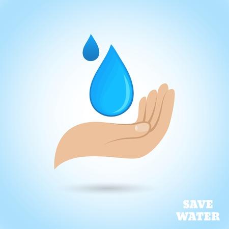 ahorrar agua: Tomados de la mano caída ahorro de agua protegen cartel ilustración vectorial Vectores