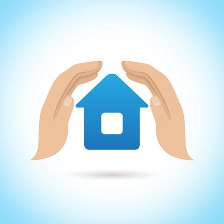 手がカバーを保持する家を守る保険の概念ベクトル イラスト ポスター