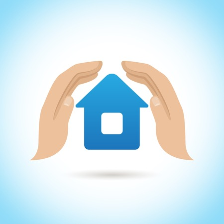protect home: Hands hold cover house home protect insurance concept poster vector illustration Illustration