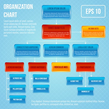 Organizational chart infographic business work hierarchy flowchart structure vector illustration Çizim