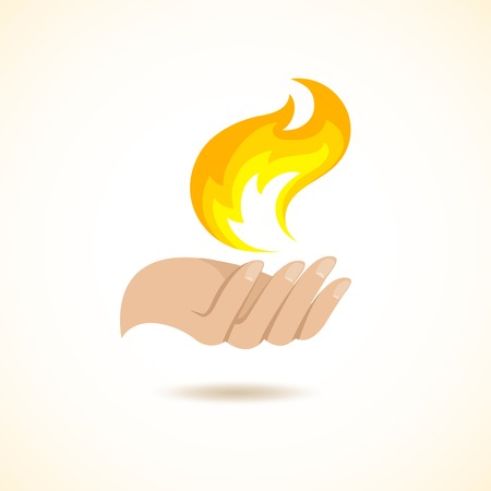 title hands: Hands hold fire flame mystery danger creation concept poster vector illustration