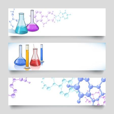 material de vidrio: Frascos de vidrio de laboratorio químico y tubos conjunto de banner con el fondo molecular ilustración vectorial