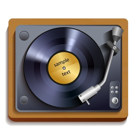 record player: Vintage retro vinyl record player or gramophone isolated icon vector illustration