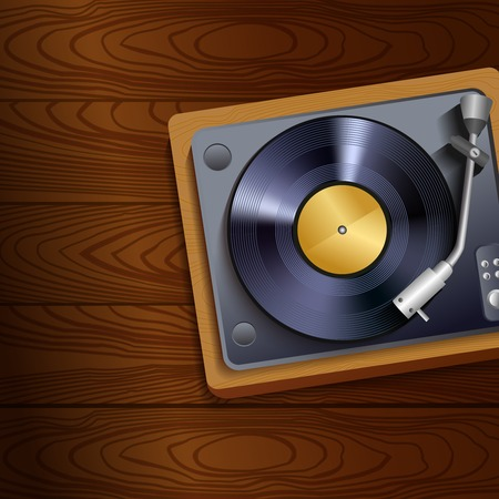 record player: Vintage retro vinyl record player on wooden table background poster vector illustration