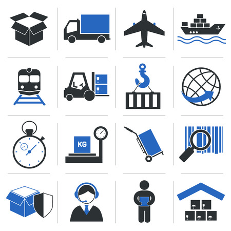 Logistic service icons and shipping elements set of vector illustration Ilustrace