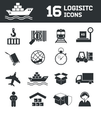 shipping supplies: Logistic shipping cargo global export chain icons set vector illustration