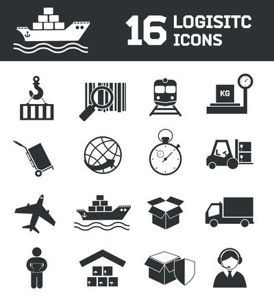 Logistieke verzending lading wereldwijde export keten pictogrammen instellen vector illustratie Stock Illustratie