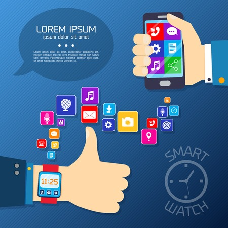 wearable: Smart watch smartphone synchro concept with thumbs up hand and mobile apps icons vector illustration