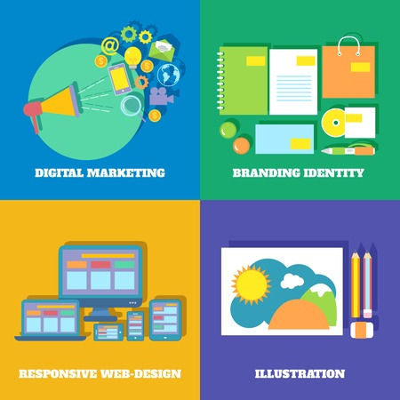 Icons set of digital marketing branding identity responsive web design vector illustration Vector Illustration