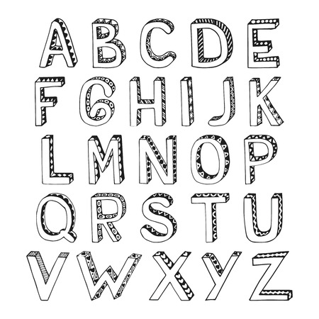 Sketch hand drawn 3d alphabet with hatch lozenge and heart ornament font letters isolated vector illustration Vector